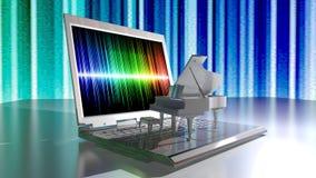 Musica e computer portatile del piano Fotografia Stock Libera da Diritti