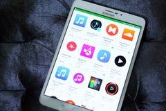 Musica ed audio apps sul deposito del gioco di Google Fotografie Stock Libere da Diritti