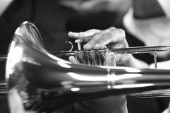 Playing the trombone Stock Photo