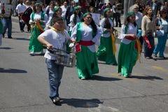 Musica a gioia di essere parata cattolica, Santiago Fotografie Stock