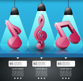 Musica infographic Icona della chiave tripla Noti l'icona Immagine Stock Libera da Diritti