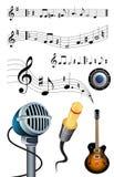 Musica, microfono, presa e chitarra illustrazione di stock