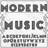Musica moderna di carattere dell'etichetta di alfabeto della fonte immagini stock