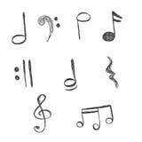 Musica, note, vettore, illustrazione, disegno della mano Immagine Stock Libera da Diritti