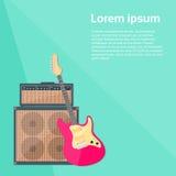 Musica rock combinata dell'amplificatore della chitarra elettrica Immagine Stock Libera da Diritti