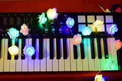 Musica variopinta d'ardore delle rose del piano fotografia stock libera da diritti