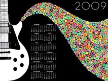 Musical 2009. An illustrated year 2009 calender with a musical theme of guitar emoting colorful circular music notes Stock Photo