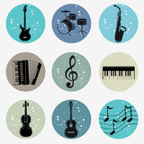Musical. Illustration icons silhouettes of musical instruments in grunge style Stock Image
