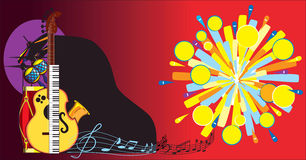 Musical abstract background. Composition from parts of musical instruments, notes and comic explosion Stock Photos