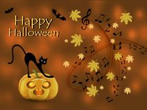 Musical abstract background for Halloween. With a black cat on a jack-o-lantern with burning eyes royalty free illustration
