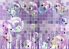 Musical abstract background. With note and bubbles Royalty Free Stock Image