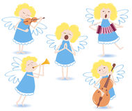 Musical angels. On a white. Vector illustration Stock Images