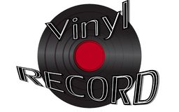 Musical audio is an old vintage retro hipster antique vinyl reco. Rd and an inscription vinyl record on the background of the 50`s, 60`s, 70`s, 80`s, 90`s and Royalty Free Illustration