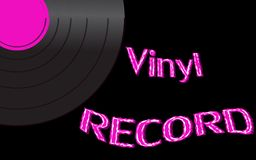 Vinyl record and an inscription vinyl record on the background of the 50`s, 60`s, 70`s, 80`s, 90`s and copy space. Vector. Musical audio is an old vintage retro vector illustration