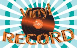 Musical audio is an old vintage retro hipster antique vinyl record and an inscription vinyl record on the background of the 60`s. 70`s, 80`s, 90`s on a royalty free illustration