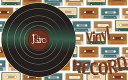 Musical audio is an old vintage retro hipster antique vinyl record and an inscription vinyl record on the background of the 60`s. 70`s, 80`s, 90`s on the royalty free illustration