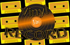 Musical audio is an old vintage retro hipster antique vinyl record and an inscription vinyl record on the background of the 60`s. 70`s, 80`s, 90`s on the stock illustration