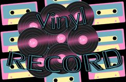 Musical audio is an old vintage retro hipster antique vinyl record and an inscription vinyl record on the background of the 60`s. 70`s, 80`s, 90`s on the Vector Illustration