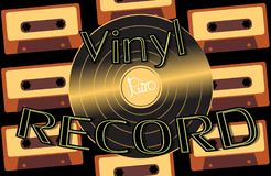 Musical audio is an old vintage retro hipster antique vinyl record and an inscription vinyl record on the background of the 60`s stock illustration