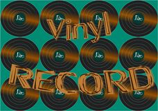 Musical audio is an old vintage retro hipster antique vinyl record and an inscription vinyl record on the background of the 60`s royalty free illustration