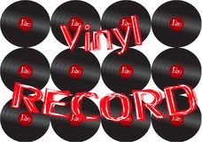 Musical audio is an old vintage retro hipster antique vinyl record and an inscription vinyl record on the background of the 60`s. Musical audio is an old vintage royalty free illustration