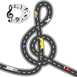 Musical automotive equipment. To the music of the way shorter. Humorous image. illustration Stock Photography