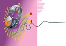 Musical background. A musical background with a headphones. Vector illustration for use as a filer or poster Royalty Free Stock Photos