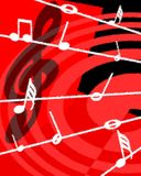 Musical background with notes in red tones. Music is the center of this illustration. The colors chosen suggest a warm melody Stock Photo