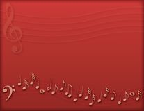 Musical Background. Red Background with Music Elements Stock Photography