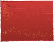 Musical Background. Red Background with Music Elements Royalty Free Stock Photo