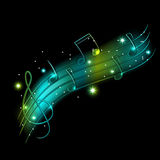 Musical background. Vector musical shiny background with stars Stock Photos