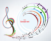 Musical background. Brightly colored notes with treble clef Stock Photography