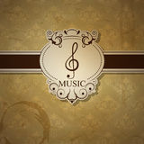 Musical background. Vector musical background with treble clef Stock Photos