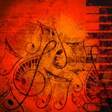 Musical Background. Vector illustration of musical note with piano key against abstract grungy background royalty free illustration