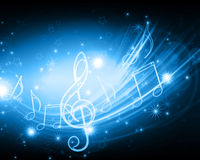 Musical background. Glowing musical symbols with stars vector illustration