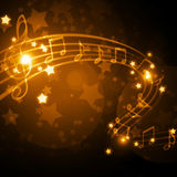 Musical background. Musical staff with notes and stars Stock Photos