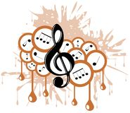 Musical background with treble clef isolated Royalty Free Stock Photo