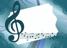 Colorful Musical background with treble clef. An abstract illustration with treble clef and notes. A nice background usable not only for project about music, but vector illustration