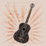Musical background acoustic guitar Royalty Free Stock Photos