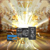 Musical background with audiocassette and speaker Stock Photos