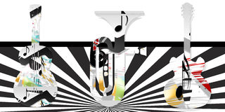 Musical. Background black and white with instrument Royalty Free Stock Photo