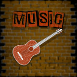 Musical background with brick wall Royalty Free Stock Images