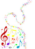 Musical background with colored music notes. On white Stock Image