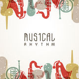 Musical background with colorful instruments. Stock Image