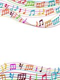 Musical background with colorful music notes and waves. Vector illustration Royalty Free Stock Photos