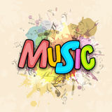 Musical background with colorful text. Stock Photos