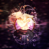 Musical background with dancing man. Abstract colorful musical background with male dancer Stock Photos
