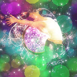 Musical background with dancing man. Abstract colorful musical background with male dancer Stock Photography