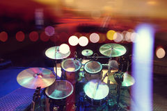 Musical background.Drumkit on stage lights performance Royalty Free Stock Image