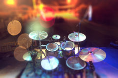 Musical background.Drumkit on stage lights performance Royalty Free Stock Photos